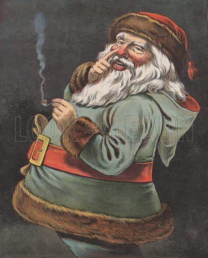 Illustration for unidentified edition of The Night Before Christmas, late 19th or early 20th century.