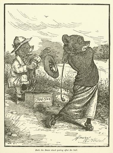 Bears playing golf. Illustration for Our Darlings, c 1905.