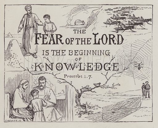 The Fear of the Lord is the Beginning of Knowledge, Proverbs 1, 7. Illustration for Stories illustrative of the Book of Proverbs by JL Nye (Eld and Blackham, 1889).