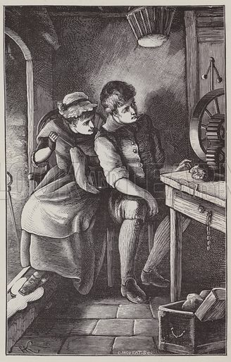 George Stephenson being encouraged by his wife. Illustration for Stories illustrative of the Book of Proverbs by JL Nye (Eld and Blackham, 1889).