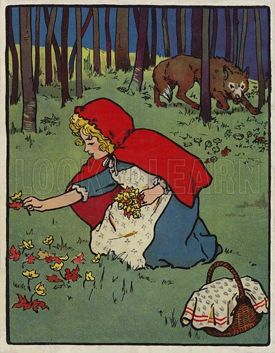 Red Riding Hood. Illustration for Red Riding Hood and Other Stories (Henry Frowde and Hodder and Stoughton, 1909).