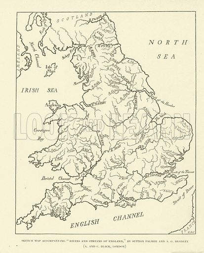 Rivers and Streams of England. Illustration for The Rivers and Streams of England painted by Sutton Palmer and described by AG Bradley (A&C Black, 1909).