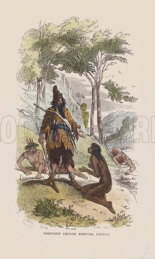 Robinson rescues Friday. Illustration for The Life and Adventures of Robinson Crusoe by Daniel De Foe (George Routledge, 1851). Contemporary hand-coloured engraving.