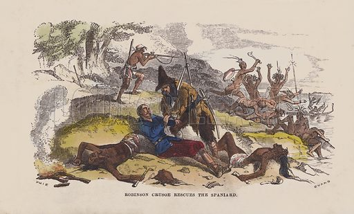 Robinson Crusoe rescues the Spaniard. Illustration for The Life and Adventures of Robinson Crusoe by Daniel De Foe (George Routledge, 1851). Contemporary hand-coloured engraving.