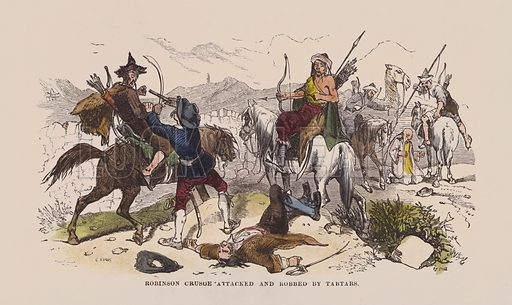 Robinson Crusoe attacked and robbed by Tartars. Illustration for The Life and Adventures of Robinson Crusoe by Daniel De Foe (George Routledge, 1851). Contemporary hand-coloured engraving.