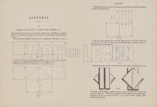 Mode of folding a napkin for dishing etc. Illustration for The Royal Cookery Book (Le Livre De Cuisine) by Jules Gouffe (Sampson Low, 1883).
