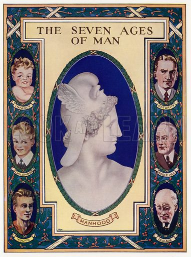 The Seven Ages Of Man. Illustration for Safer Motherhood edited by Sir William Arbuthnot Lane (British Books, 1932).