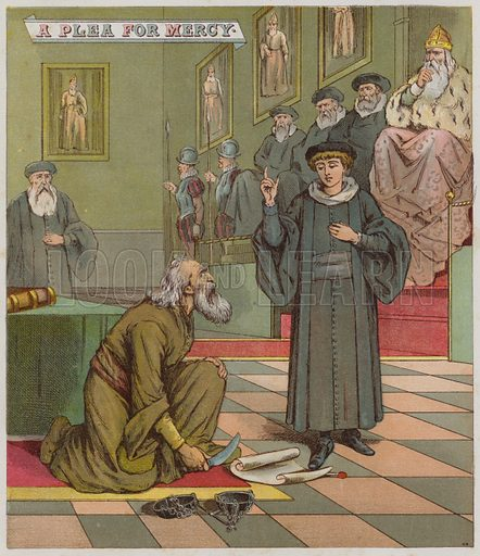 Illustration for The Merchant Of Venice. Illustration for Shakspearian Tales in Verse by Mrs Valentine (Warne, 1881).