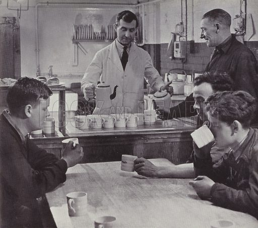 Tea for the workers, WW2. Illustration from a WW2 booklet called Tea for the Workers, How to make the best of the Factory Tea Ration.