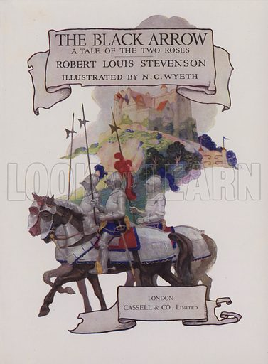 Title-page illustration for The Black Arrow by Robert Louis Stevenson (Cassell, 1916).