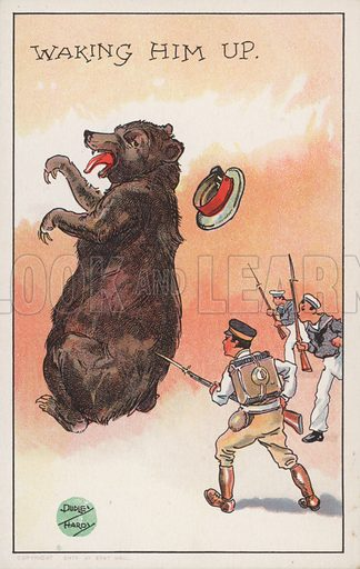 Waking Him Up. Russo-Japanese War cartoon, showing Japanese soldiers goading the Russian bear. Postcard, c 1904–05.