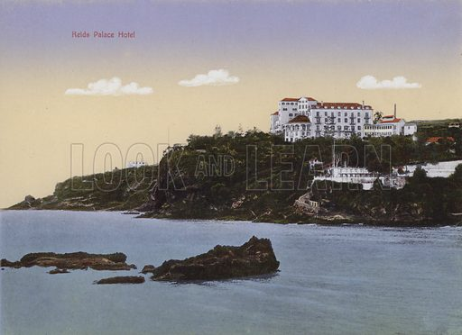 Reids Palace Hotel. Illustration for a souvenir booklet about Madeira, late 19th or early 20th century.