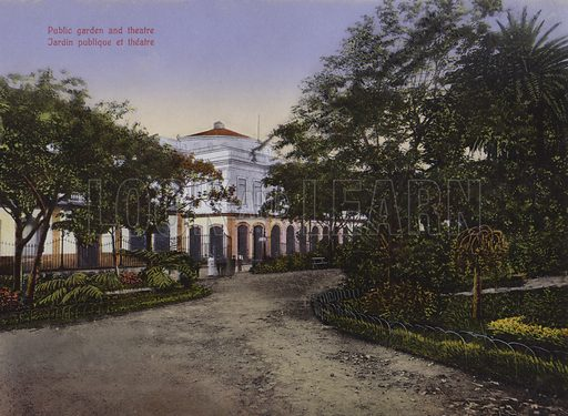Public garden and theatre. Illustration for a souvenir booklet about Madeira, late 19th or early 20th century.