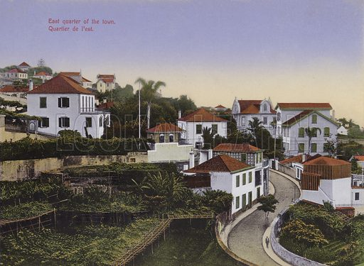 East Quarter of the town. Illustration for a souvenir booklet about Madeira, late 19th or early 20th century.