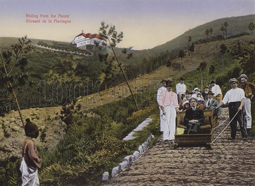 Sliding from the Mount. Illustration for a souvenir booklet about Madeira, late 19th or early 20th century.