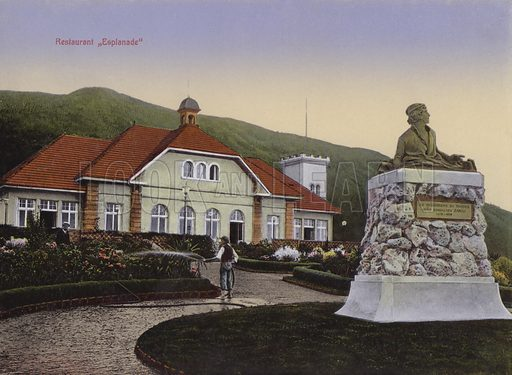 Restaurant Esplanade. Illustration for a souvenir booklet about Madeira, late 19th or early 20th century.