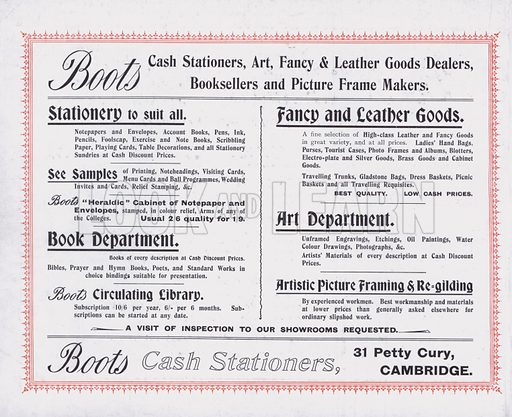 Advertisement for Boots Ltd. Illustration for 32 Art Views of Cambridge, photographed and published by Boots Ltd, c 1910.
