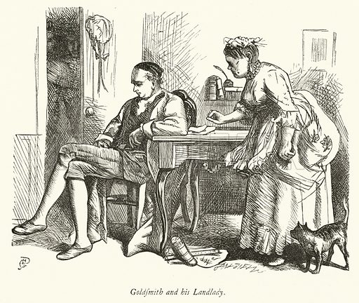 Oliver Goldsmith and his Landlady. Illustration for Dalziels' Illustrated Goldsmith with pictures drawn by GJ Pinwell (Ward Lock, c 1860).