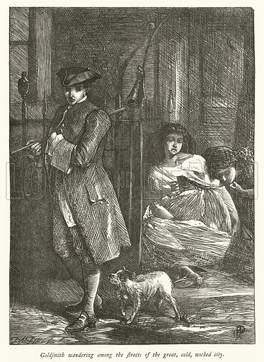 Goldsmith wandering among the streets of the great, cold, wicked city. Illustration for Dalziels' Illustrated Goldsmith with pictures drawn by GJ Pinwell (Ward Lock, c 1860).