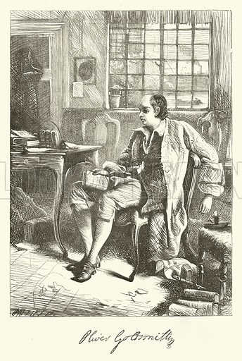 Oliver Goldsmith. Illustration for Dalziels' Illustrated Goldsmith with pictures drawn by GJ Pinwell (Ward Lock, c 1860).