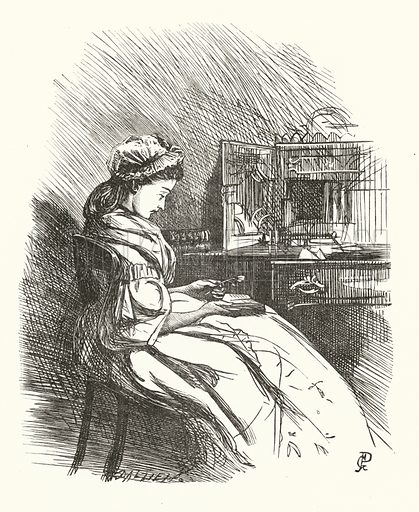 Illustration for Stanzas on Woman. Illustration for Dalziels' Illustrated Goldsmith with pictures drawn by GJ Pinwell (Ward Lock, c 1860).