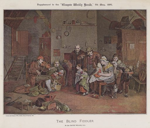 The Blind Fiddler. Illustration for The Wilkie Album, consisting of 12 colour plates, produced as supplements to the Glasgow Weekly Herald in 1892 and early 1893.