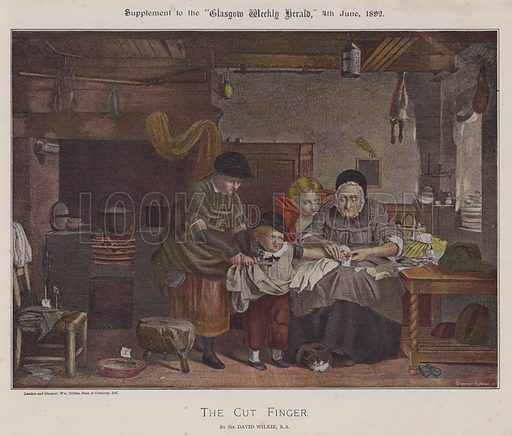 The Cut Finger. Illustration for The Wilkie Album, consisting of 12 colour plates, produced as supplements to the Glasgow Weekly Herald in 1892 and early 1893.