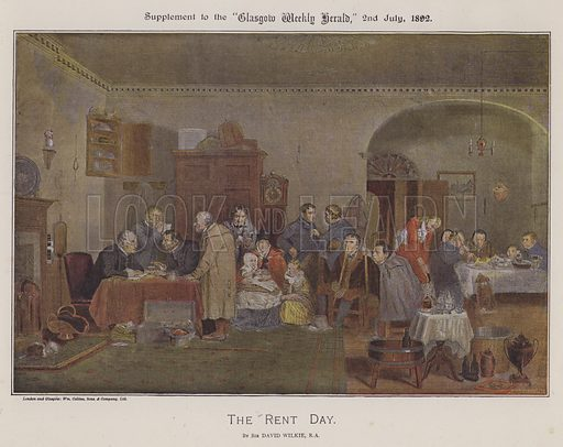 The Rent Day. Illustration for The Wilkie Album, consisting of 12 colour plates, produced as supplements to the Glasgow Weekly Herald in 1892 and early 1893.