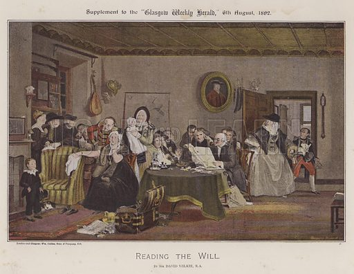 Reading The Will. Illustration for The Wilkie Album, consisting of 12 colour plates, produced as supplements to the Glasgow Weekly Herald in 1892 and early 1893.