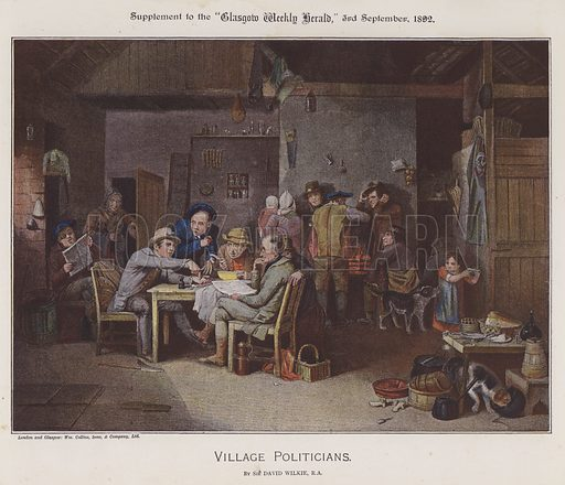 Village Politicians. Illustration for The Wilkie Album, consisting of 12 colour plates, produced as supplements to the Glasgow Weekly Herald in 1892 and early 1893.