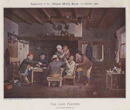 The Card Players. Illustration for The Wilkie Album, consisting of 12 colour plates, produced as supplements to the Glasgow Weekly Herald in 1892 and early 1893.