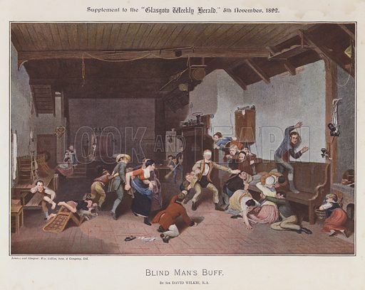Blind Man's Buff. Illustration for The Wilkie Album, consisting of 12 colour plates, produced as supplements to the Glasgow Weekly Herald in 1892 and early 1893.