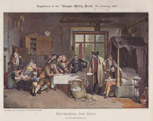 Distraining for Rent. Illustration for The Wilkie Album, consisting of 12 colour plates, produced as supplements to the Glasgow Weekly Herald in 1892 and early 1893.