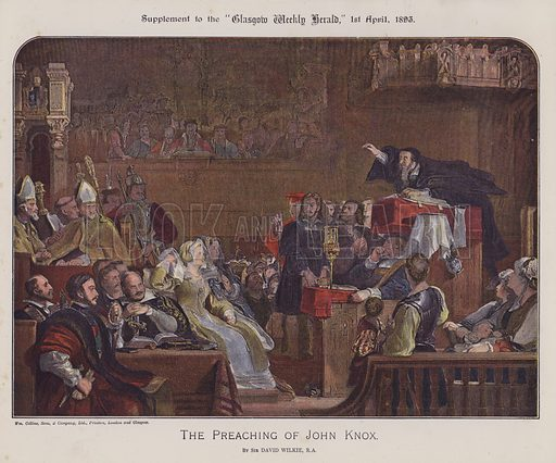 The preaching of John Knox. Illustration for The Wilkie Album, consisting of 12 colour plates, produced as supplements to the Glasgow Weekly Herald in 1892 and early 1893.