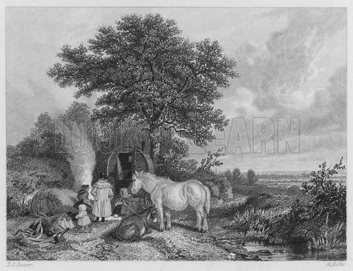 The Gipsies' Haunt. Illustration for The Book of Gems edited by SC Hall (Henry G Bohn, 1849).