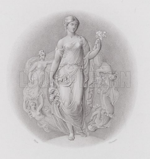 Maids with roses. Illustration for The Book of Gems edited by SC Hall (Henry G Bohn, 1849).