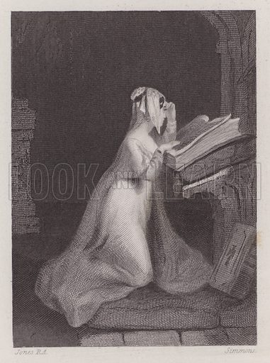 "Madeline from ""Isabella"". Illustration for The Book of Gems edited by SC Hall (Henry G Bohn, 1849)."