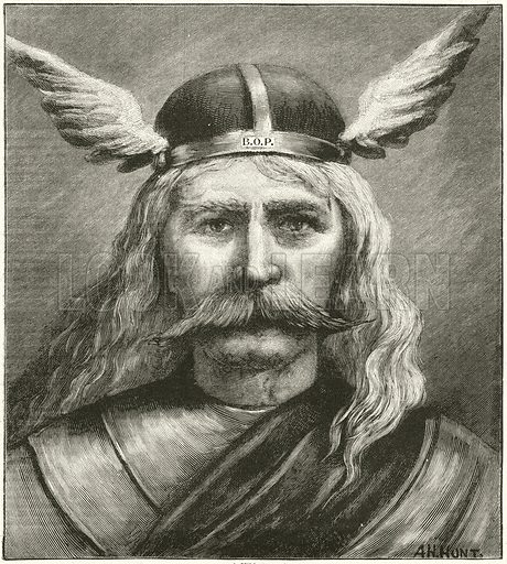 A Viking. Illustration for The Boy's Own Annual, 1898–99. Note: The Boy's Own Paper initials are on band of headdress.