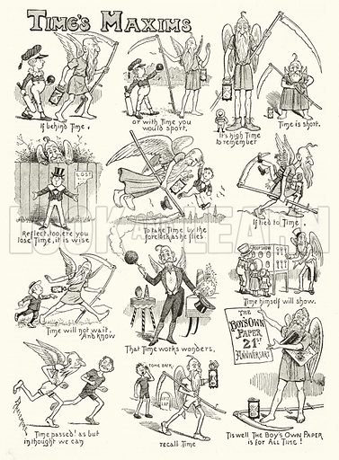 Time's Maxims. Illustration for The Boy's Own Annual, 1898–99.