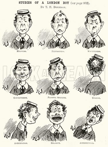 Studies of a London boy. llustration for The Boy's Own Annual, 1898–99.