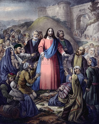 Christ healing the Multitude. Preceptive Illustrations of the Bible published by Thomas Varty (c 1880).