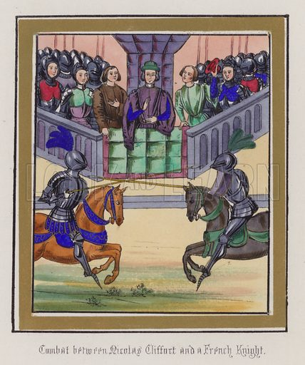 Combat between Nicholas Clifford and a French Knight. Illustration for Chronicles by Sir John Froissart translated by Thomas Johnes (William Smith, 1839). Beautifully hand-coloured engravings.
