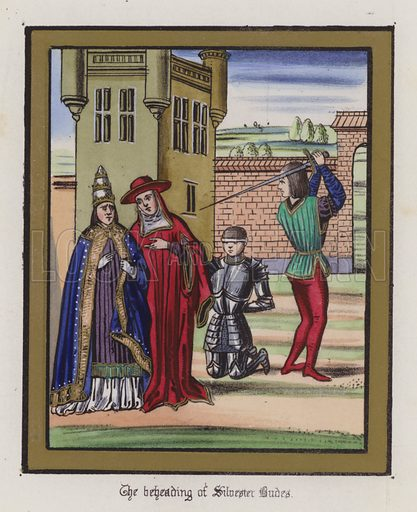 The beheading of Sir Silvester Budes. Illustration for Chronicles by Sir John Froissart translated by Thomas Johnes (William Smith, 1839). Beautifully hand-coloured engravings.