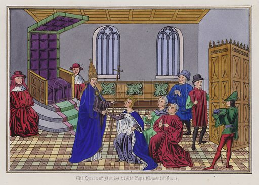 The Queen Of Naples visits Pope Clement at Rome. Illustration for Chronicles by Sir John Froissart translated by Thomas Johnes (William Smith, 1839). Beautifully hand-coloured engravings.