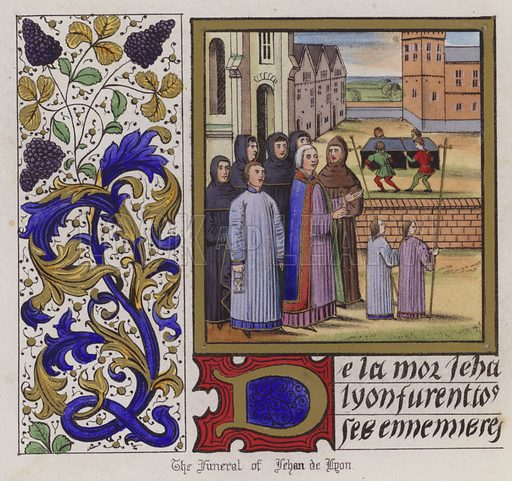 Funeral of Jehan De Lyon. Illustration for Chronicles by Sir John Froissart translated by Thomas Johnes (William Smith, 1839). Beautifully hand-coloured engravings.