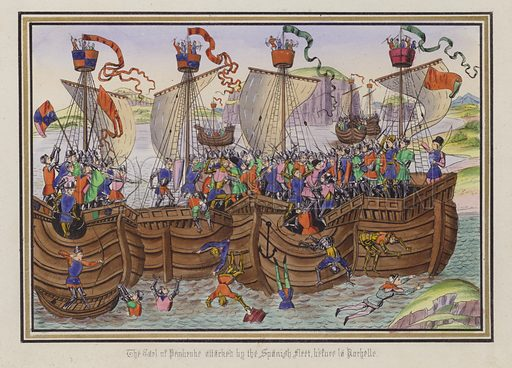 The Earl Of Pembroke attacked by the Spanish fleet, before La Rochelle. Illustration for Chronicles by Sir John Froissart translated by Thomas Johnes (William Smith, 1839). Beautifully hand-coloured engravings.