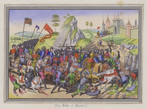The Battle Of Montiel. Illustration for Chronicles by Sir John Froissart translated by Thomas Johnes (William Smith, 1839). Beautifully hand-coloured engravings.