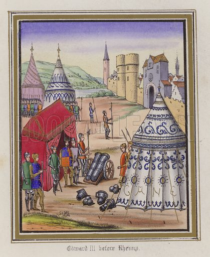 Edward III before Rheims. Illustration for Chronicles by Sir John Froissart translated by Thomas Johnes (William Smith, 1839). Beautifully hand-coloured engravings.