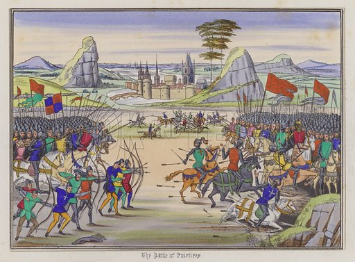 The Battle Of Poitiers. Illustration for Chronicles by Sir John Froissart translated by Thomas Johnes (William Smith, 1839). Beautifully hand-coloured engravings.