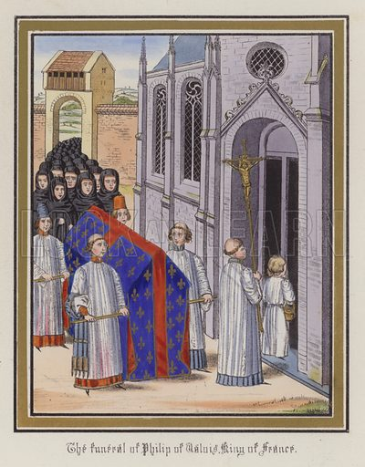 The funeral of Philip of Valois, King Of France. Illustration for Chronicles by Sir John Froissart translated by Thomas Johnes (William Smith, 1839). Beautifully hand-coloured engravings.